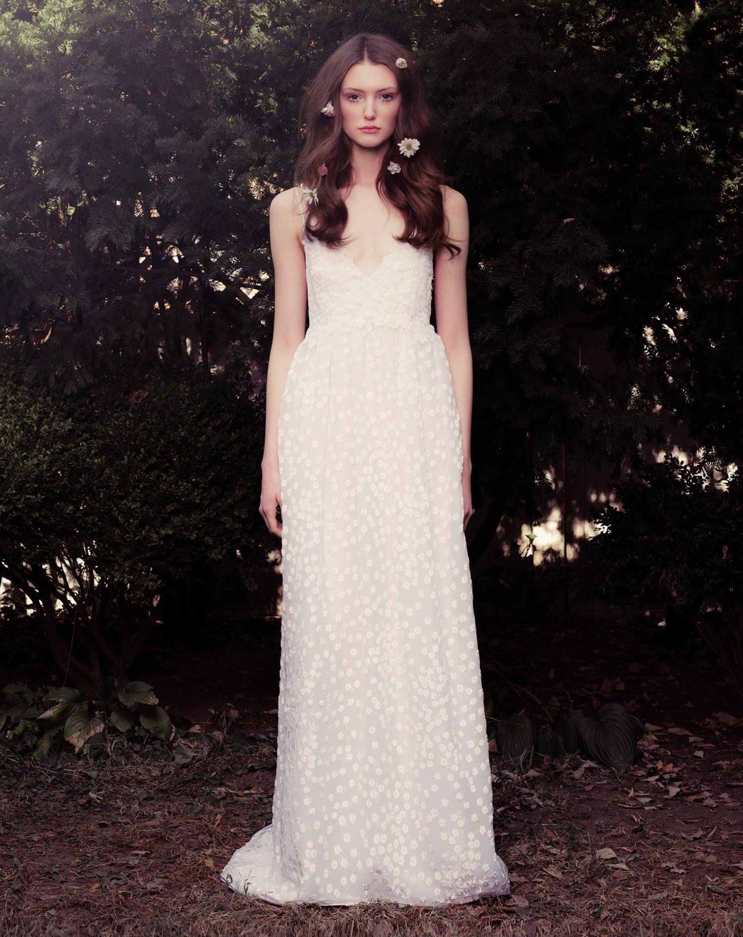 Silk Panne Devore Velvet Gown With Blossom Lace Overlay