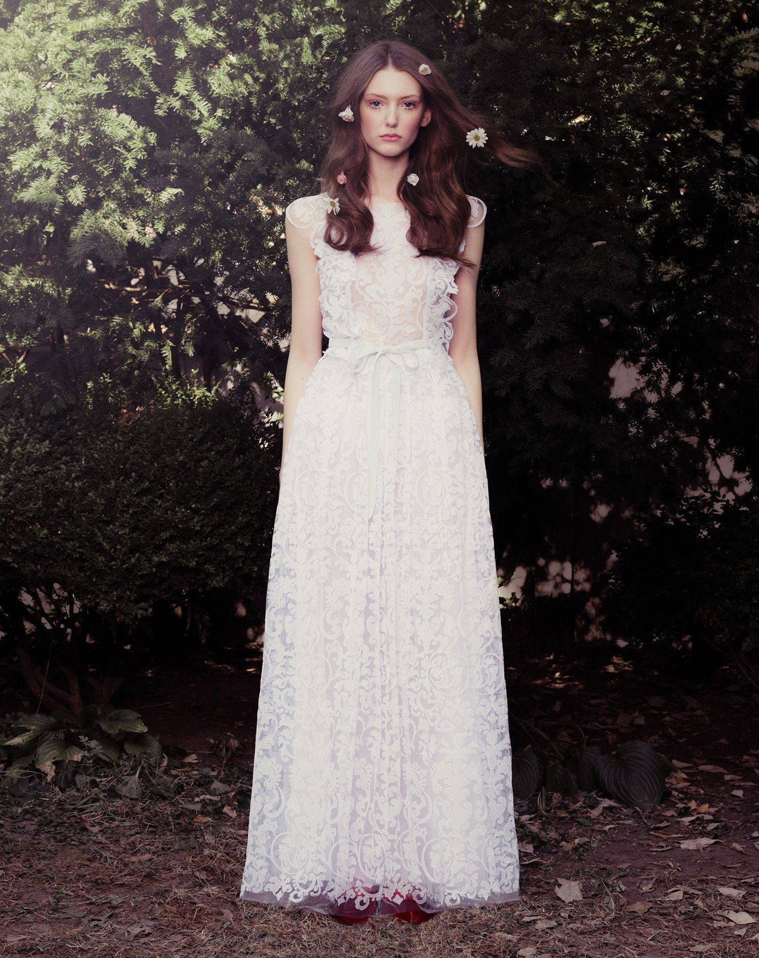 Iron Work Embroidered Tulle And Silk Georgette Maxi Skirt With Matching Hand Detailed Ruffle Top