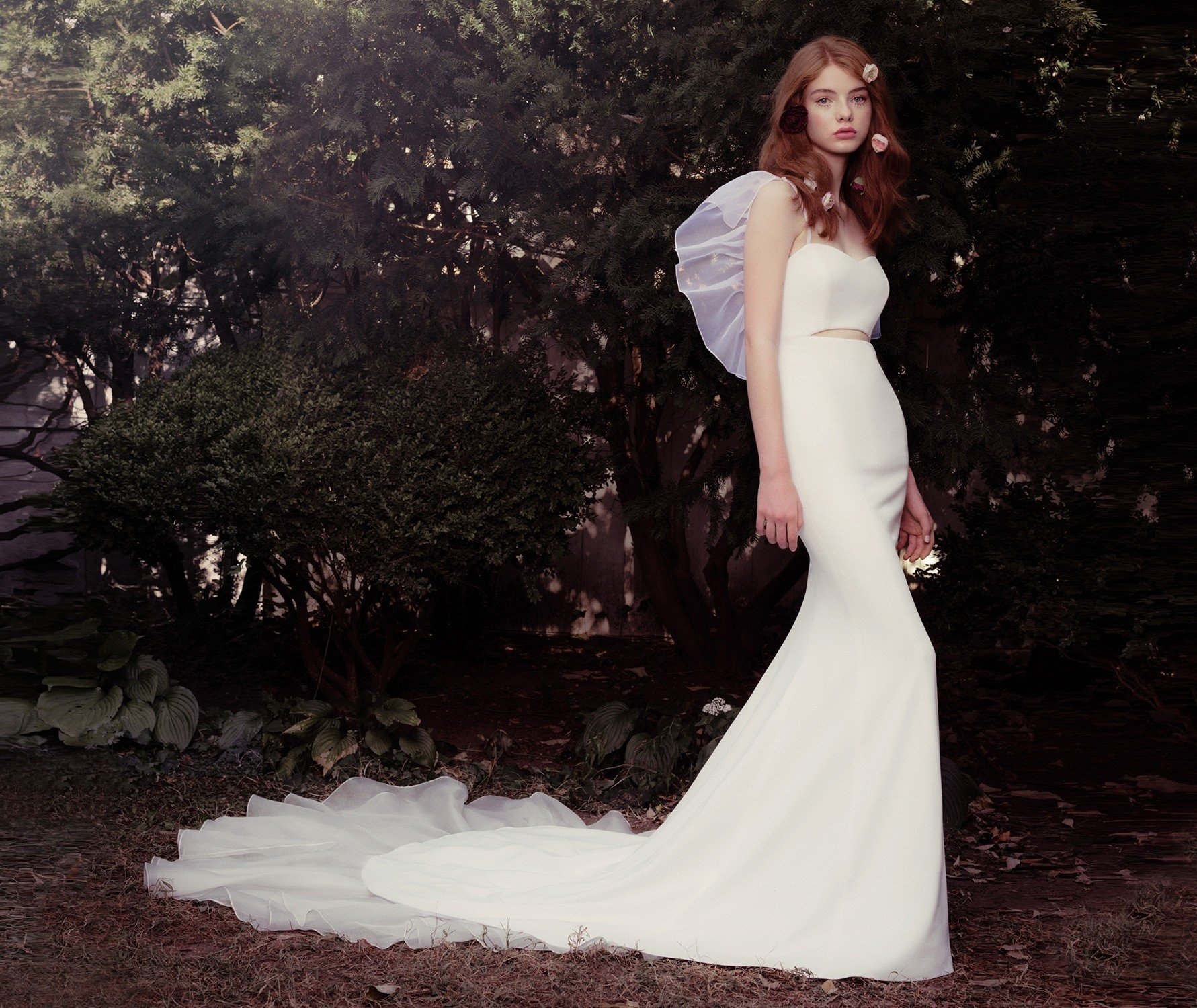 Crepe cutout gown with silk organza tiered train and adjustable ruffle sleeves