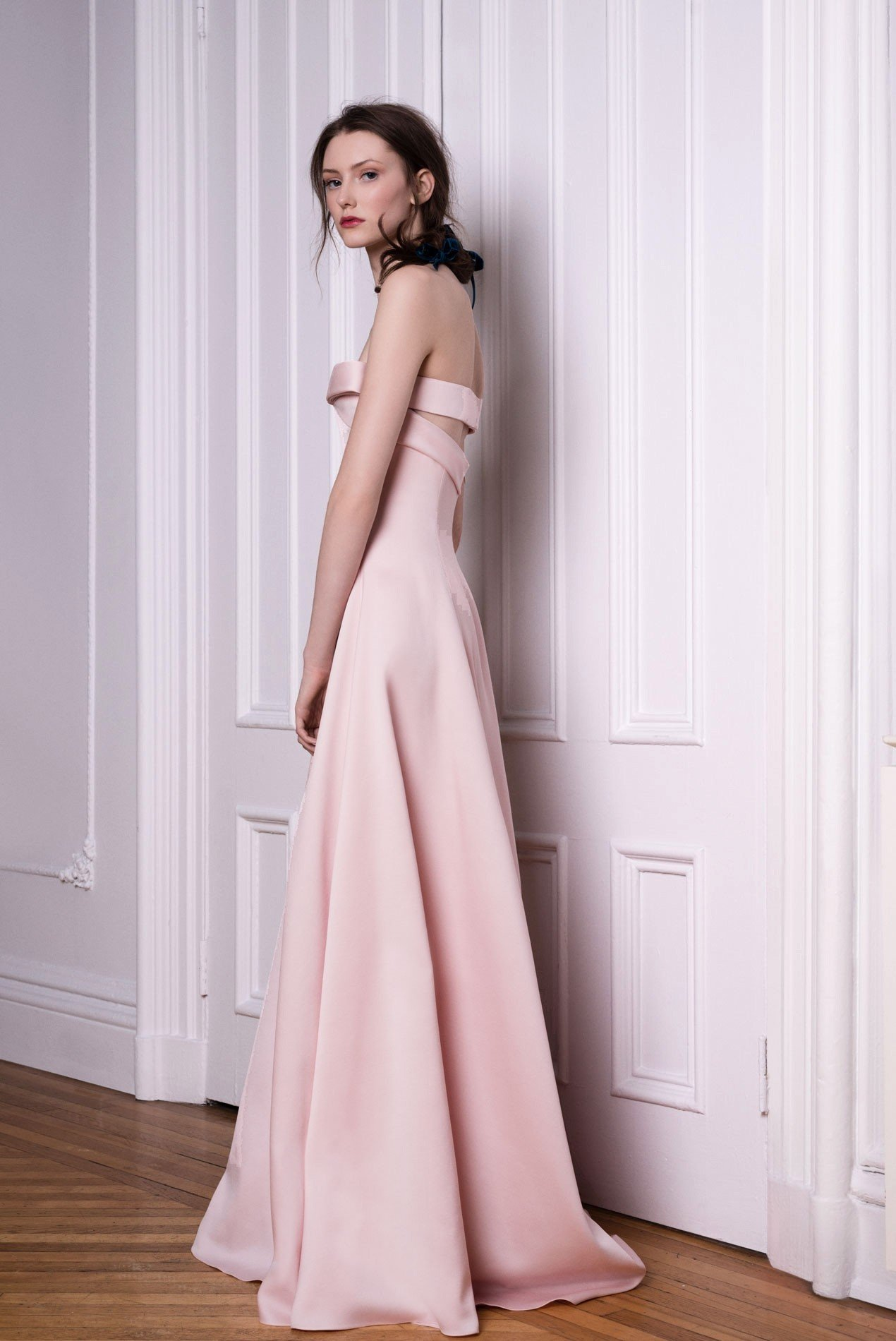 Silk and wool strapless gown with structured bow