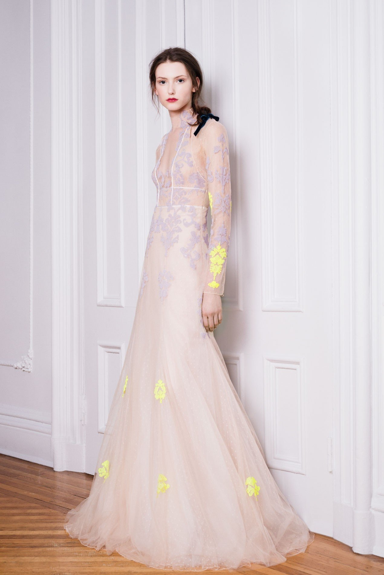 Point d'esprit gown and shrug with hand embroidered lace appliqué