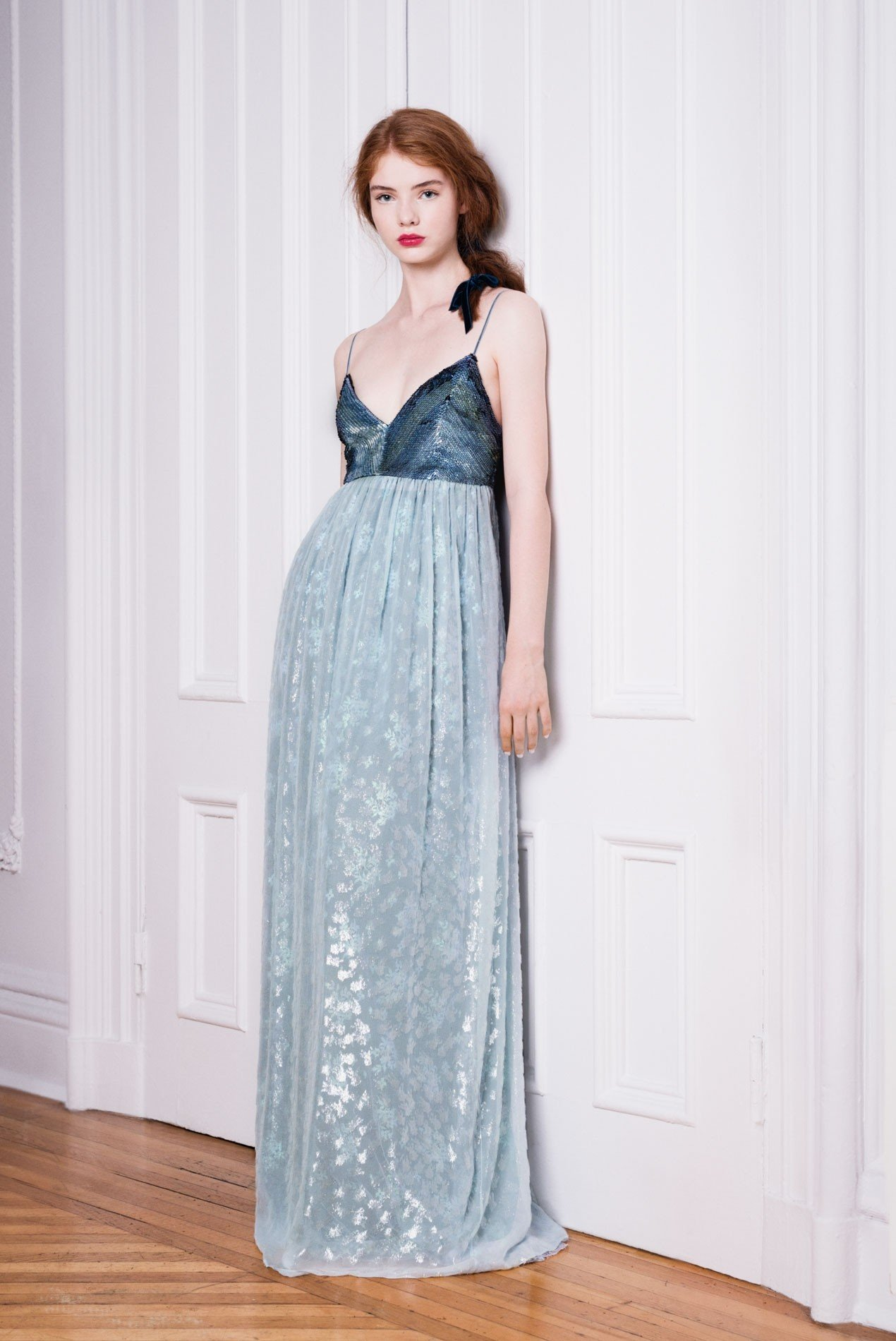 Panne velvet and lace gown with hand-beaded bodice