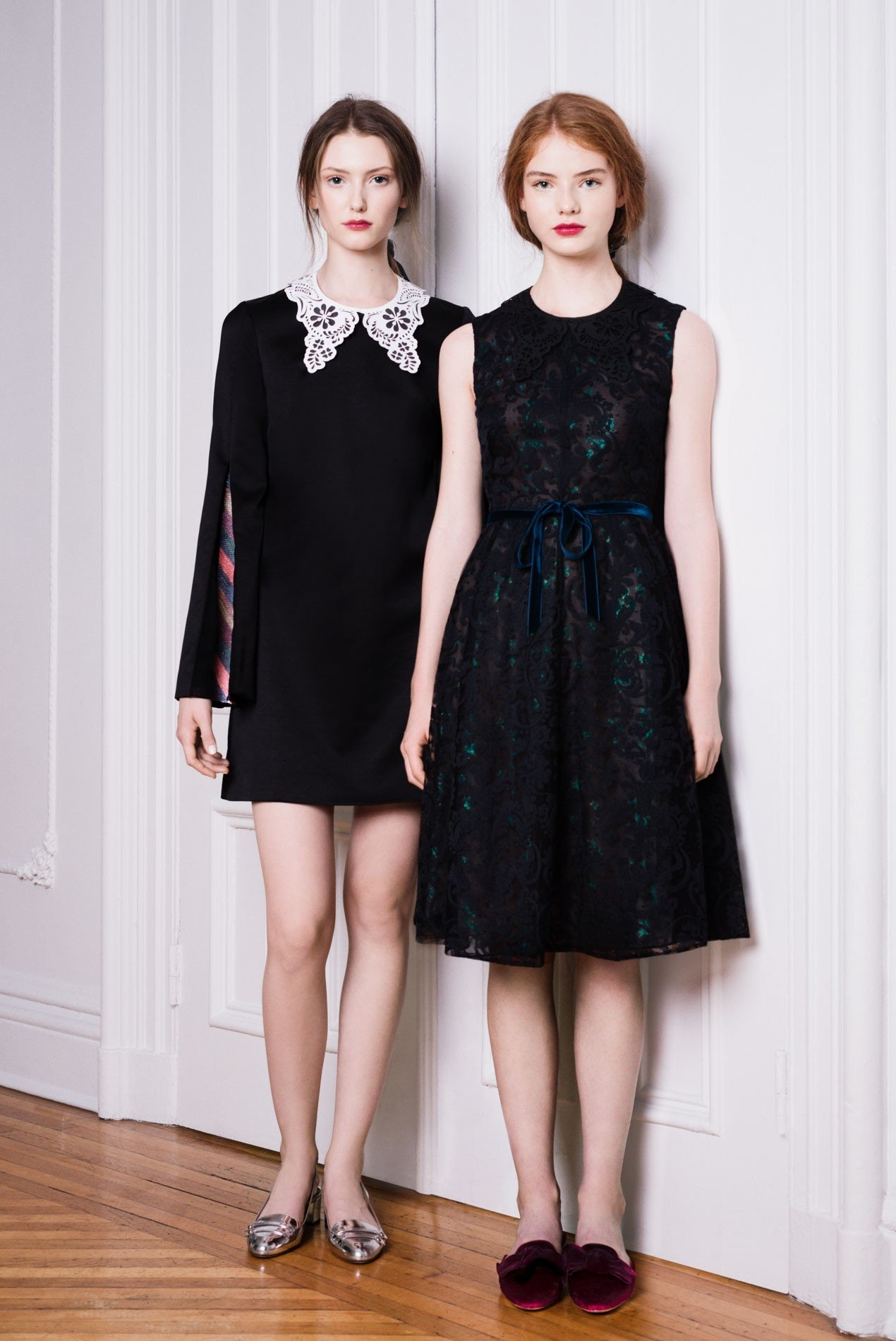 Left: Cady sheath dress with chevron sequin inserts and laser cut collar | Right: Ironwork embroidered dress over iridescent lace with laser cut collar