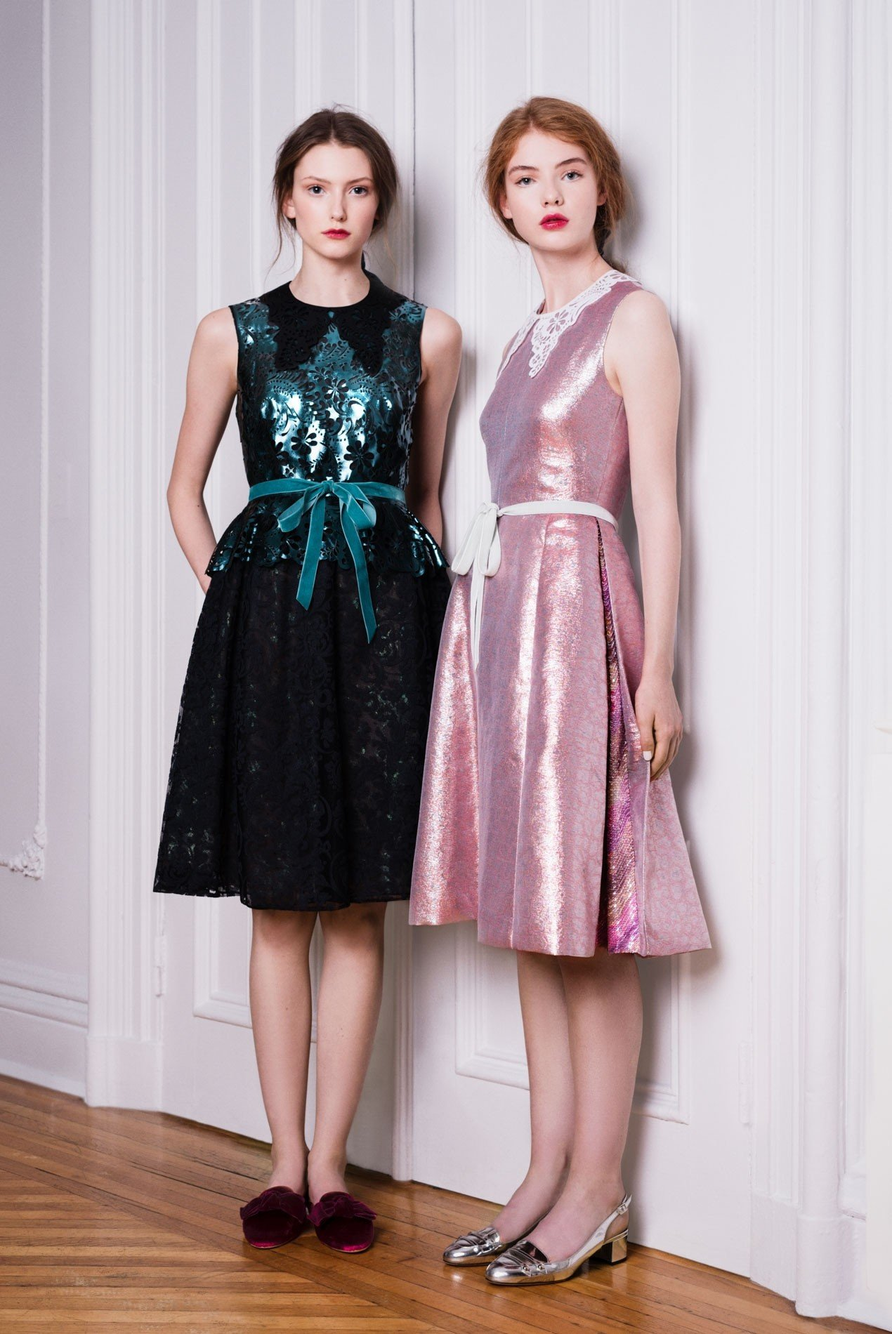 Left: Laser cut leather peplum top | Right: Lamé jacquard dress with chevron sequin inserts