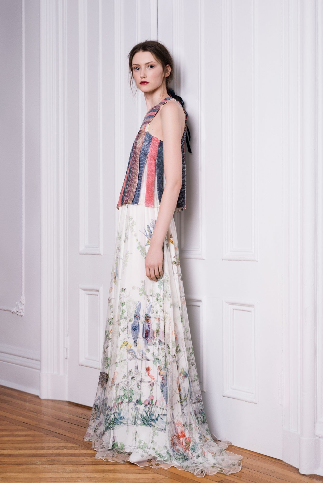 Top in sequin stripes over aviary print chiffon maxi skirt