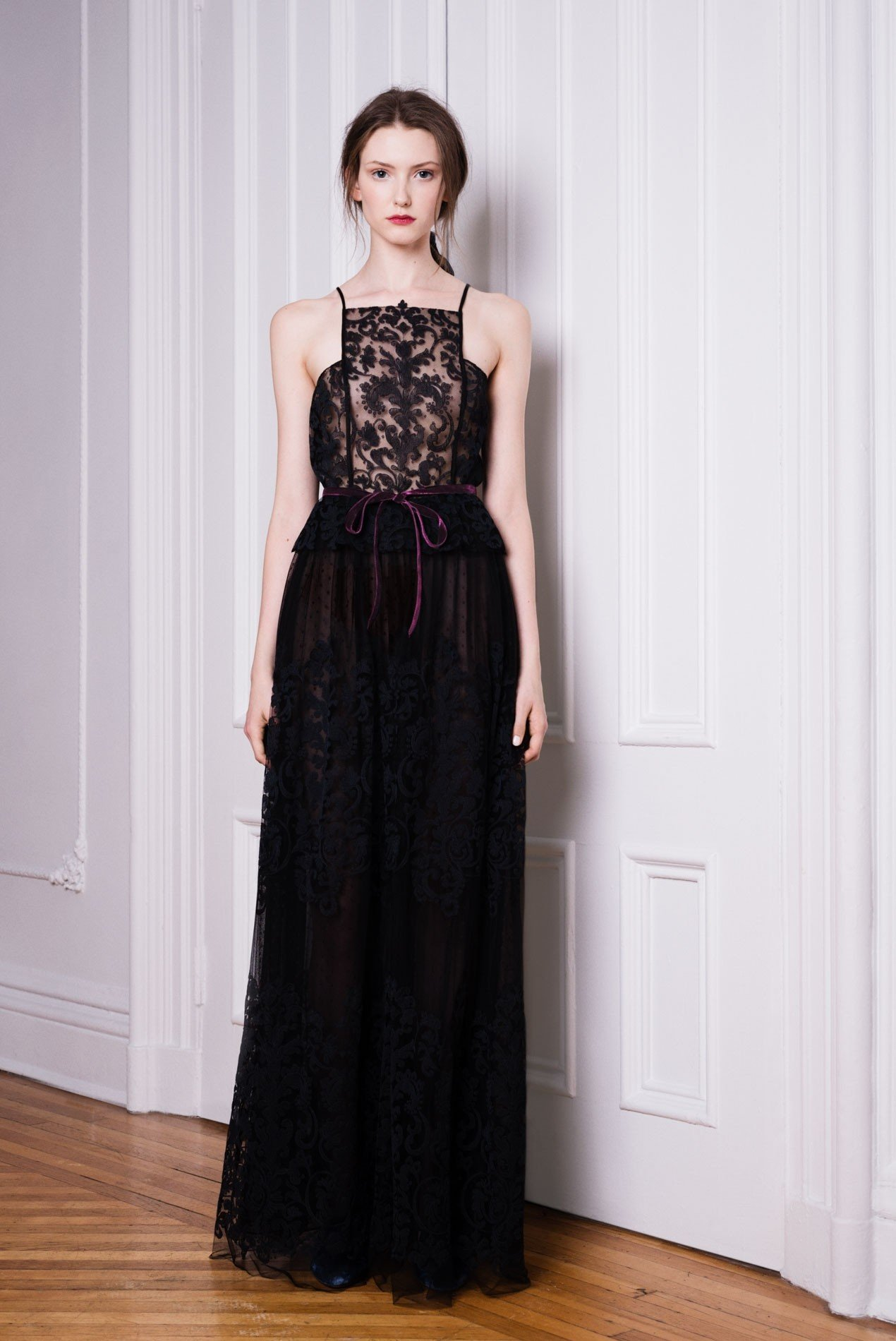 Ironwork embroidered tulle camisole and maxi skirt