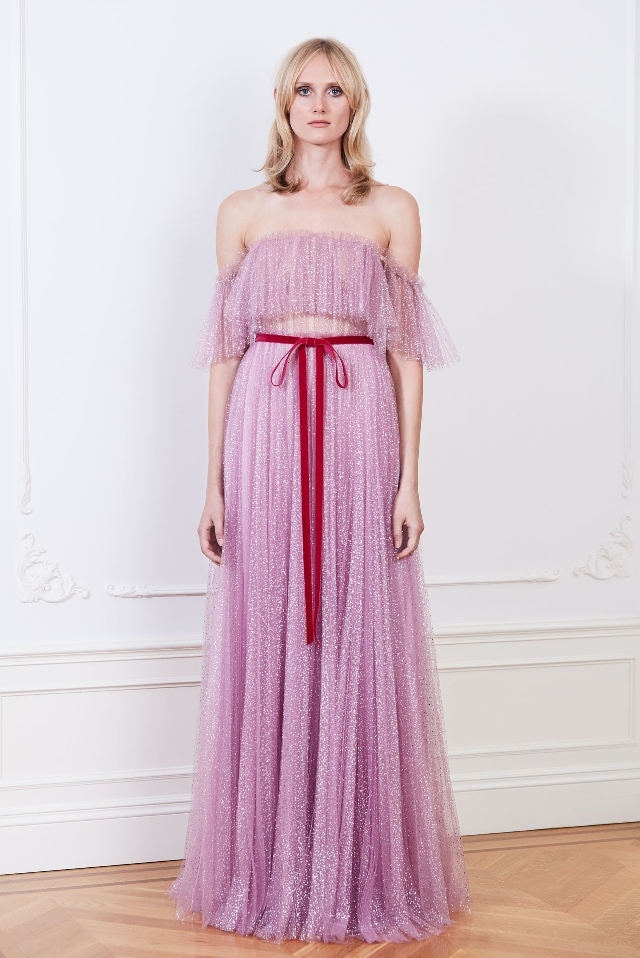 Pleated metallic dot tulle off the shoulder gown