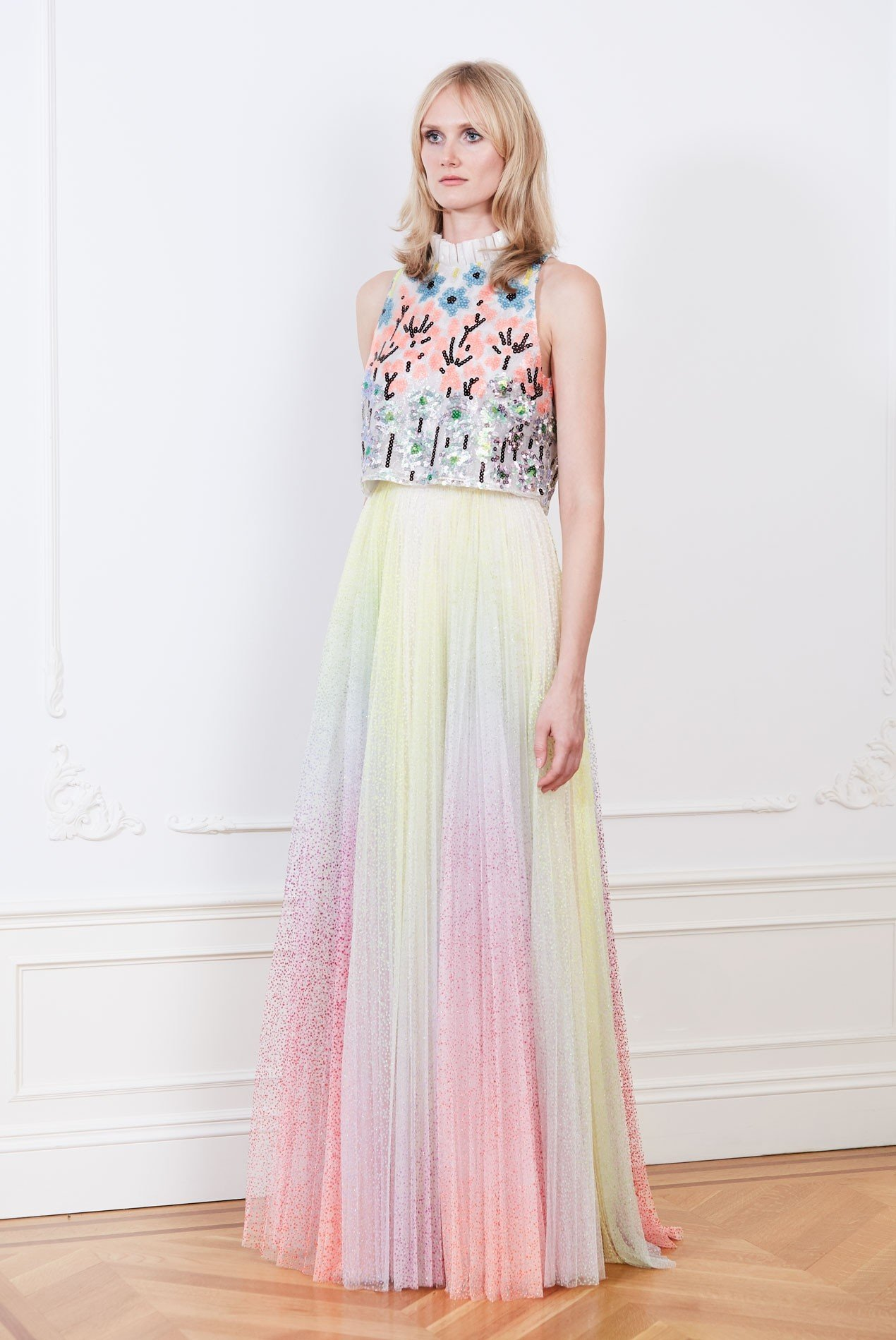 Botanical sequin cropped top over rainbow pleated tulle maxi skirt