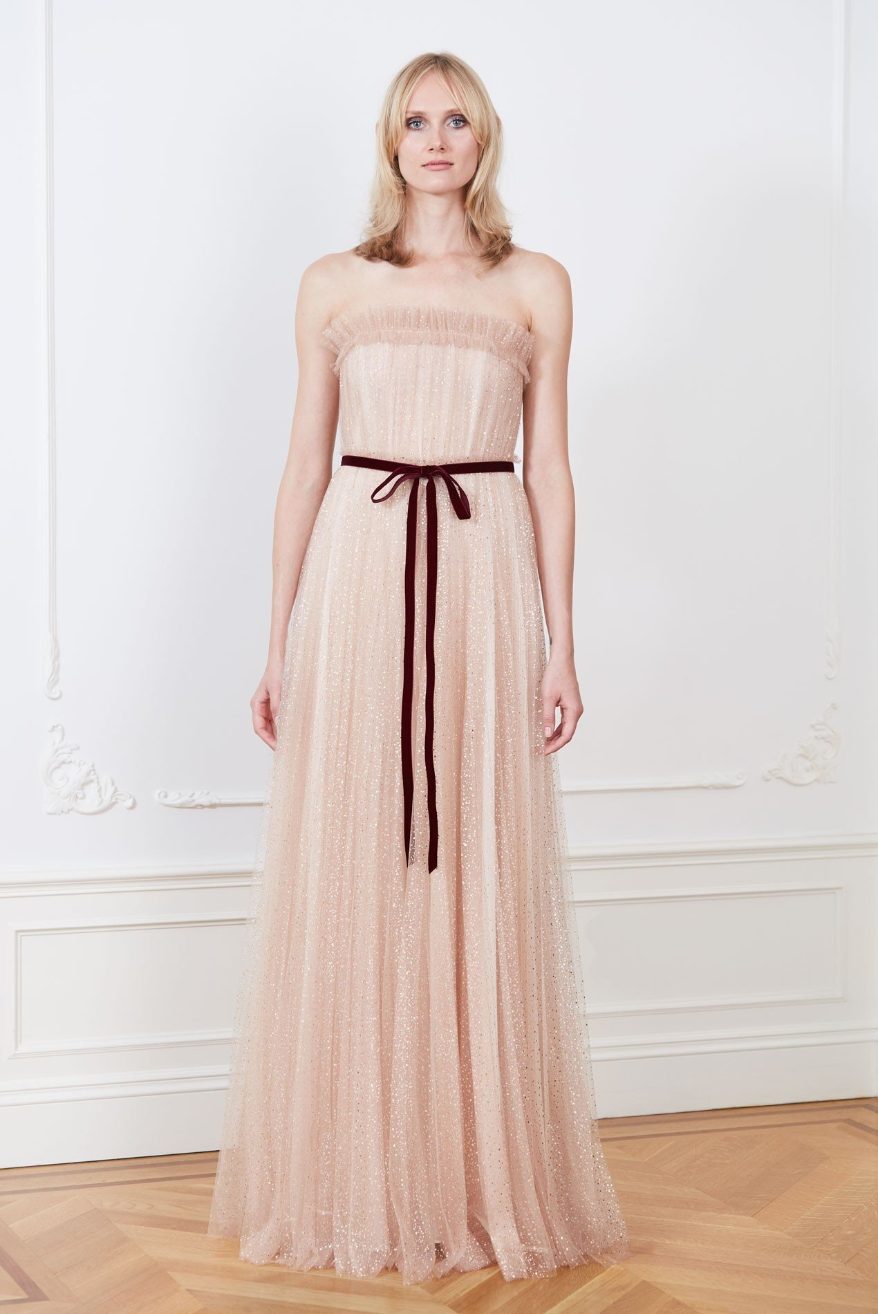 Pleated metallic dot tulle strapless gown