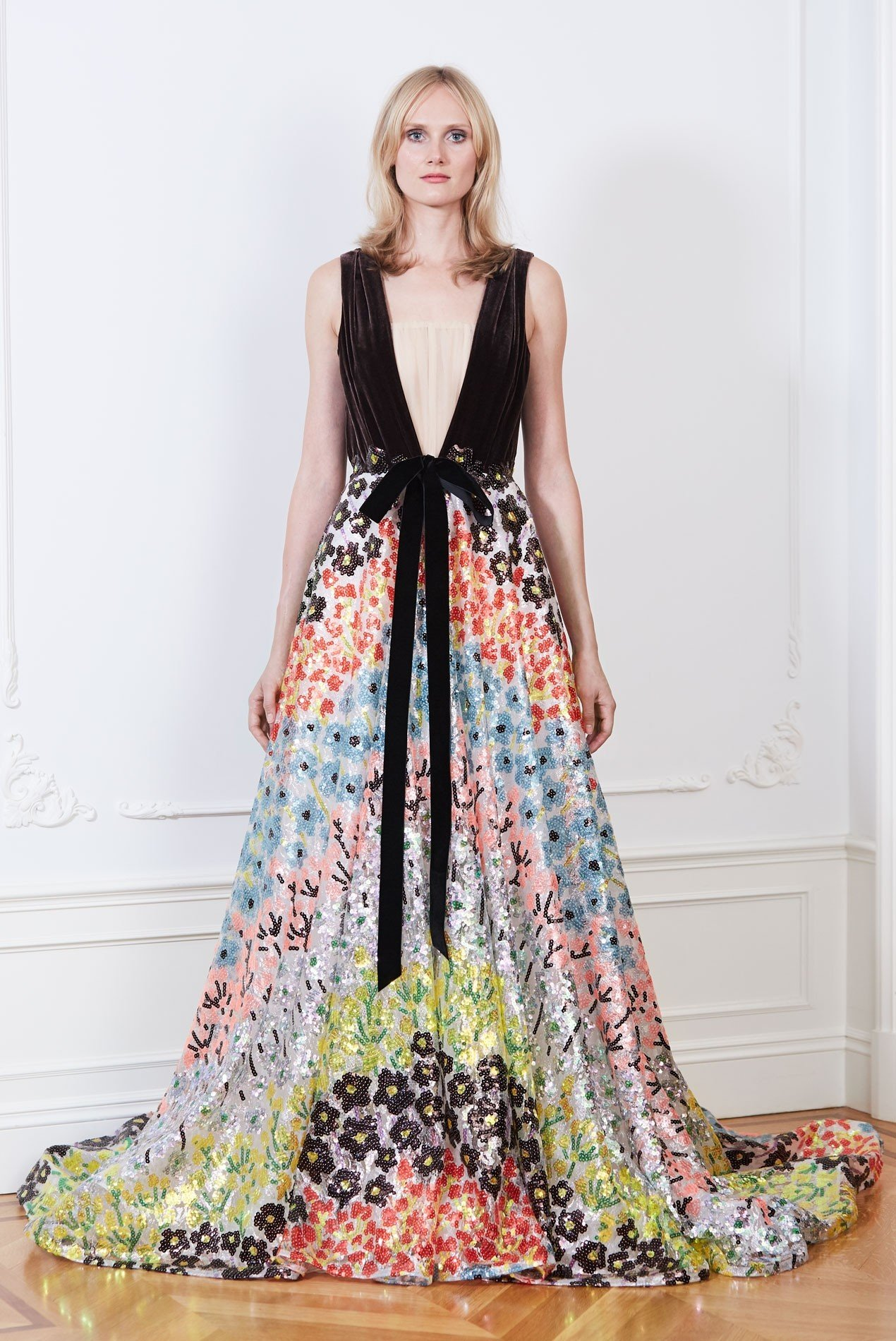 Botanical floral sequin ball gown with silk velvet bodice