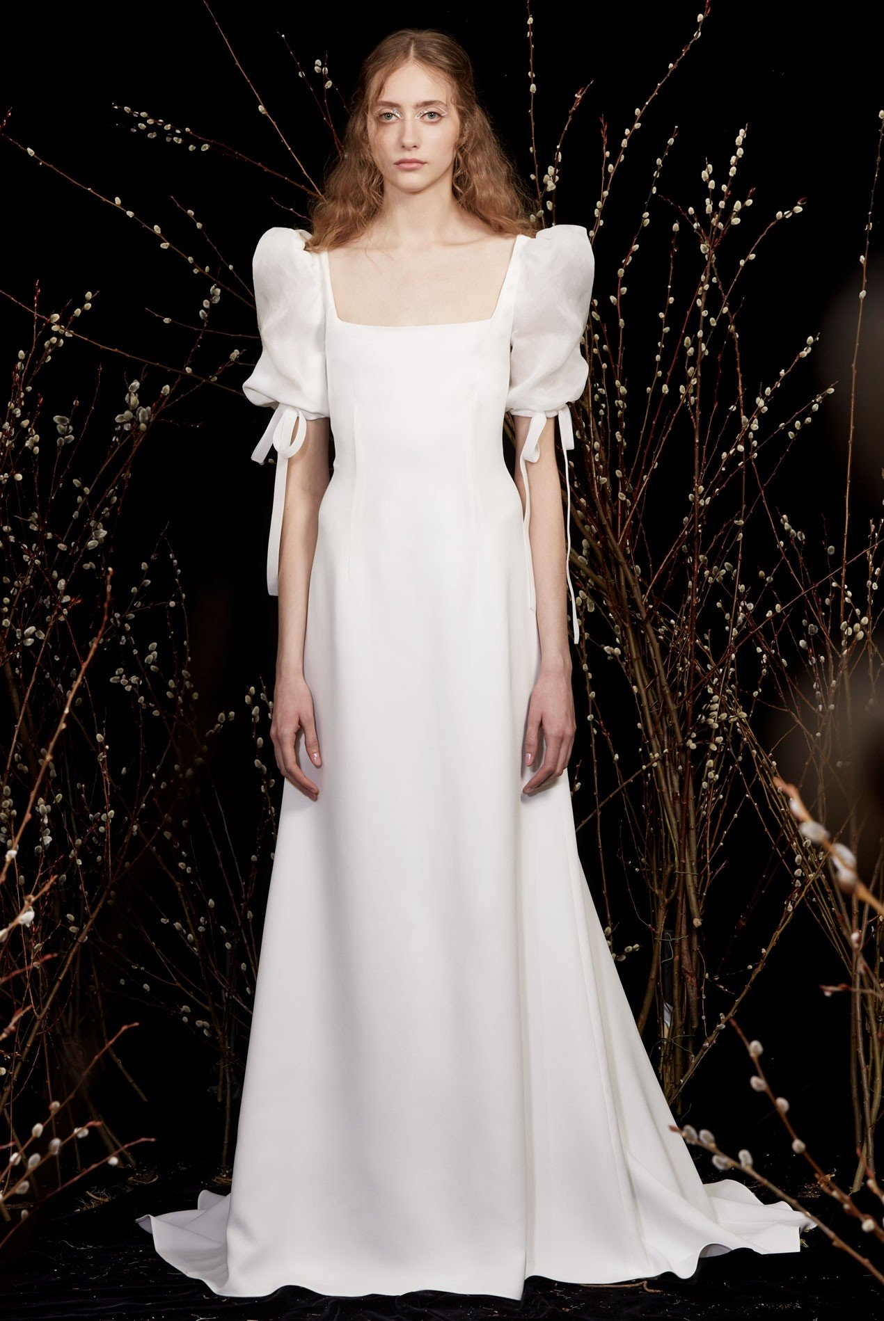 crepe gown with organza full sleeves