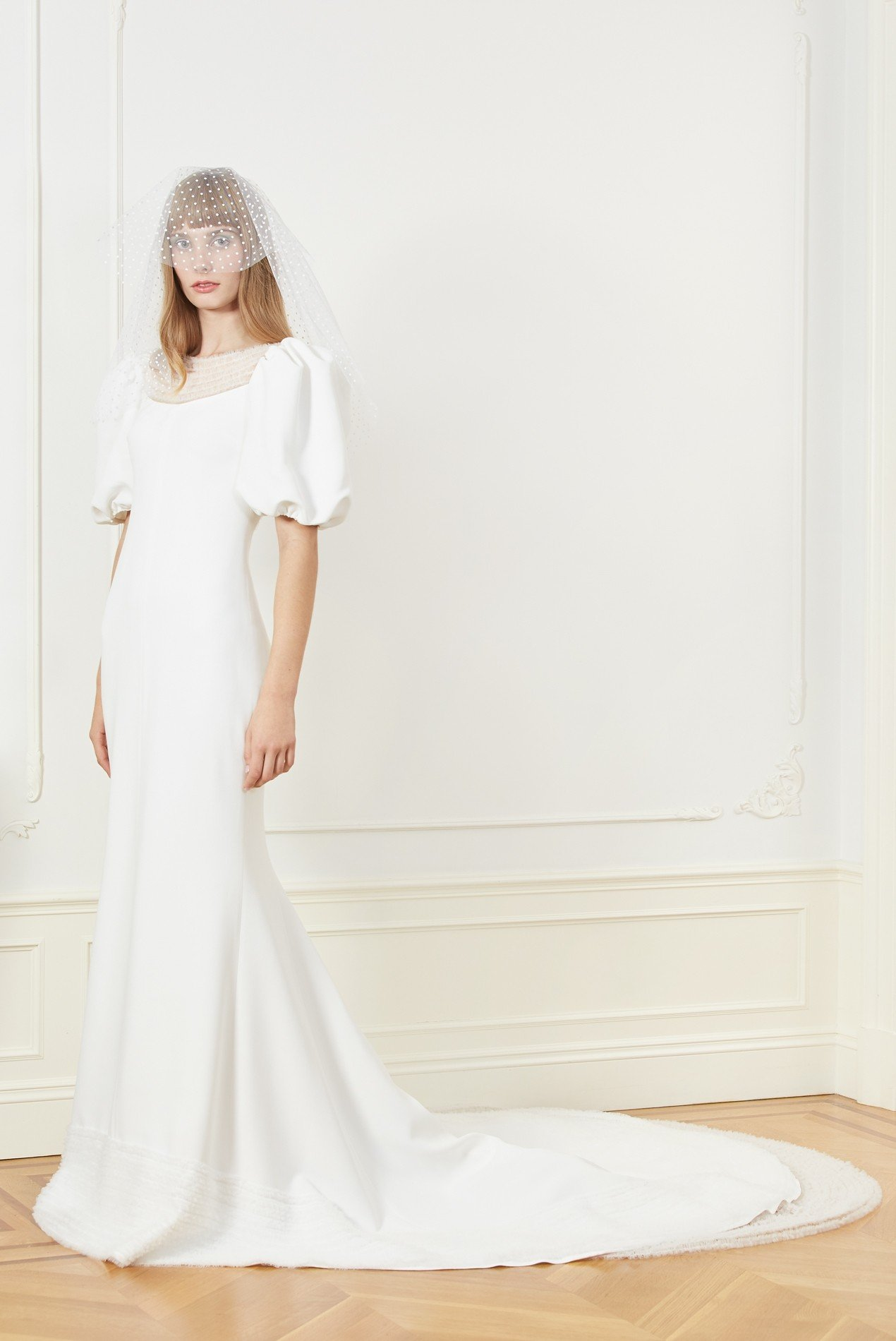 fitted crepe gown with puff sleeves and shirred tulle embroidery