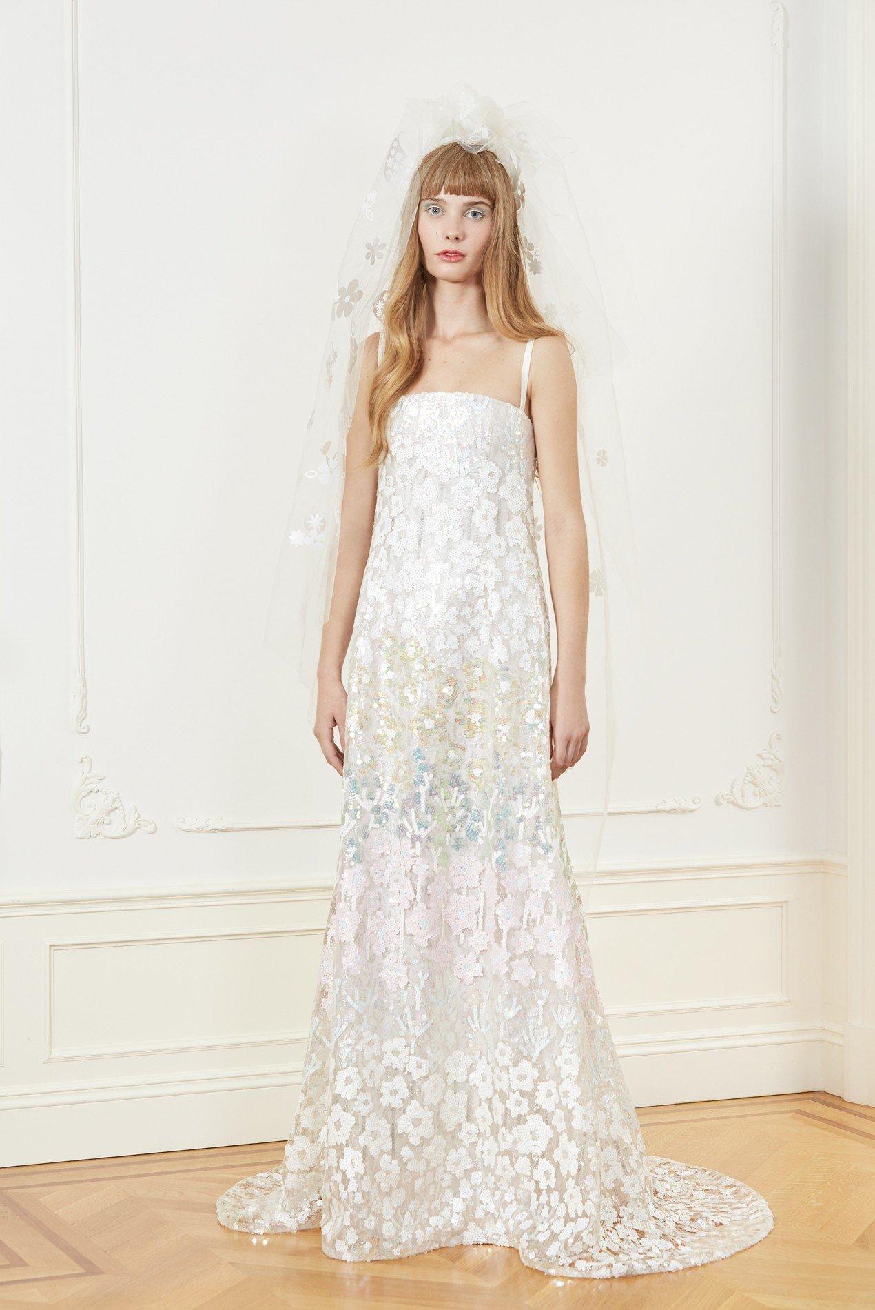 a-line botanical floral sequin gown
