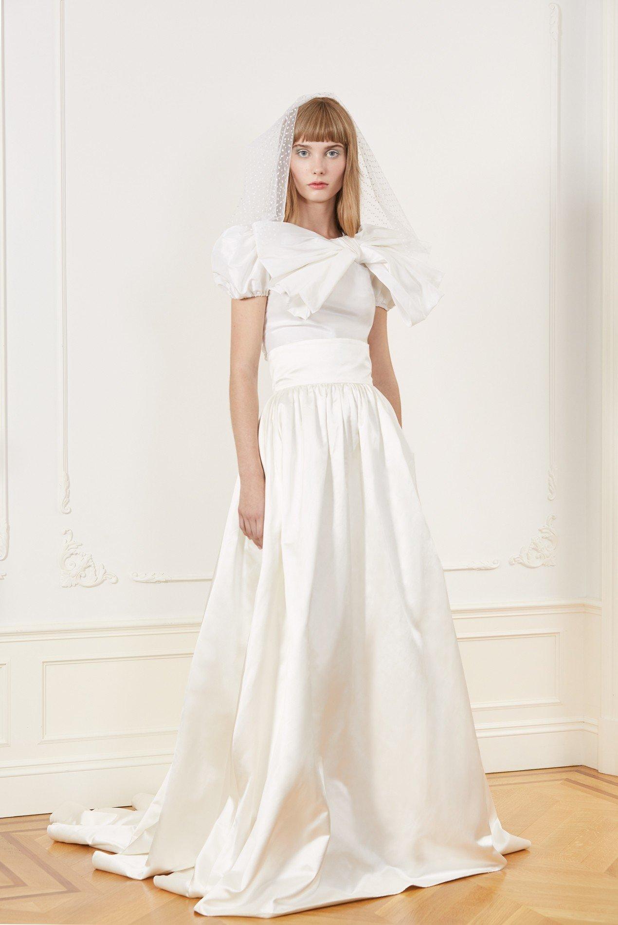 draped silk taffeta top with sheer back and silk duchess ball gown skirt