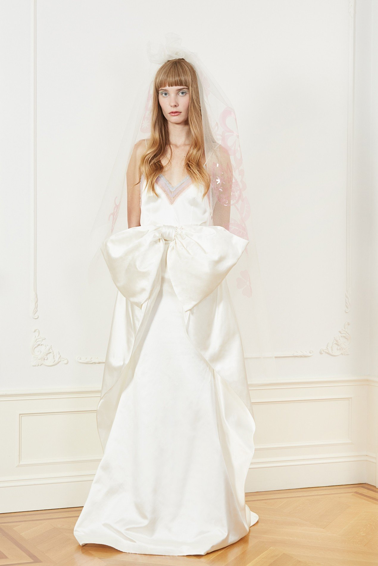 silk charmeuse camisole with rainbow shirred tulle embroidery and silk duchess draped bow skirt