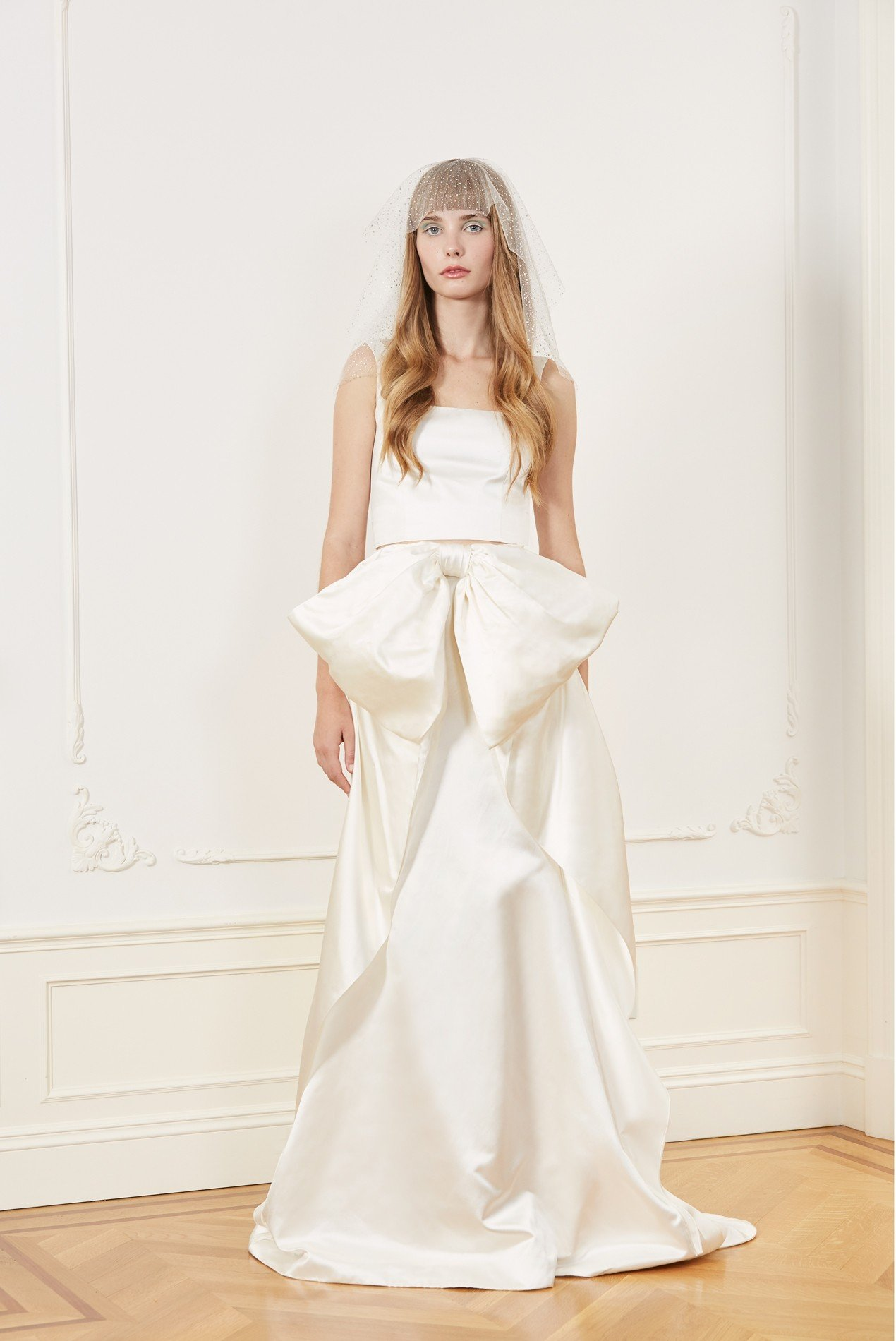silk duchess square neckline tank and silk duchess draped bow skirt