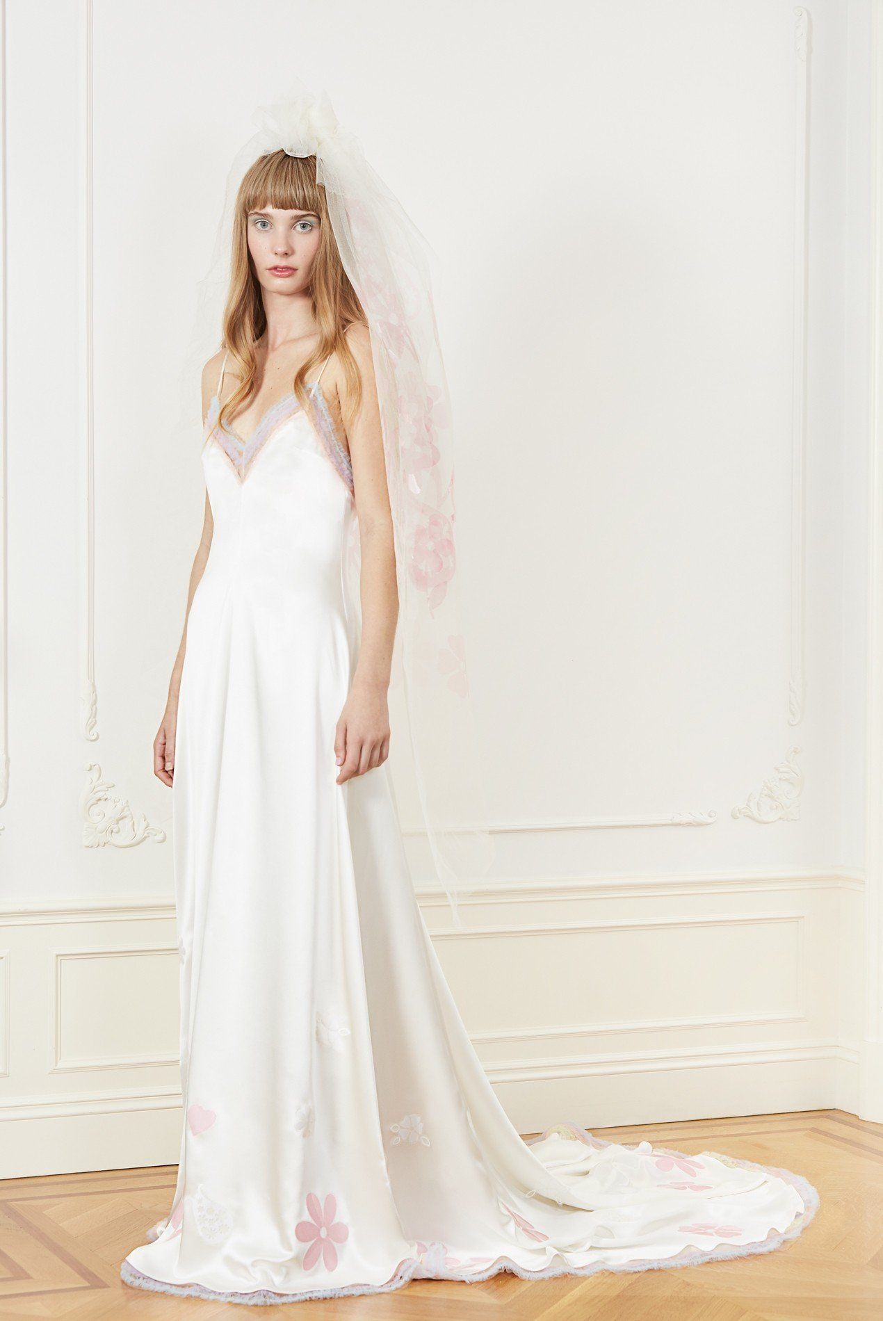 silk charmeuse slip gown with shirred tulle and laser cut floral embroidery